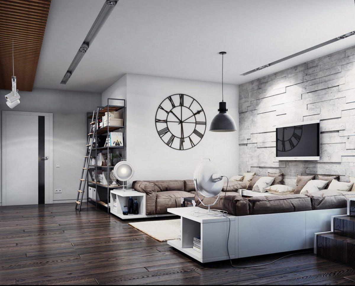 дизайн стены с телевизором в гостиной фото пример