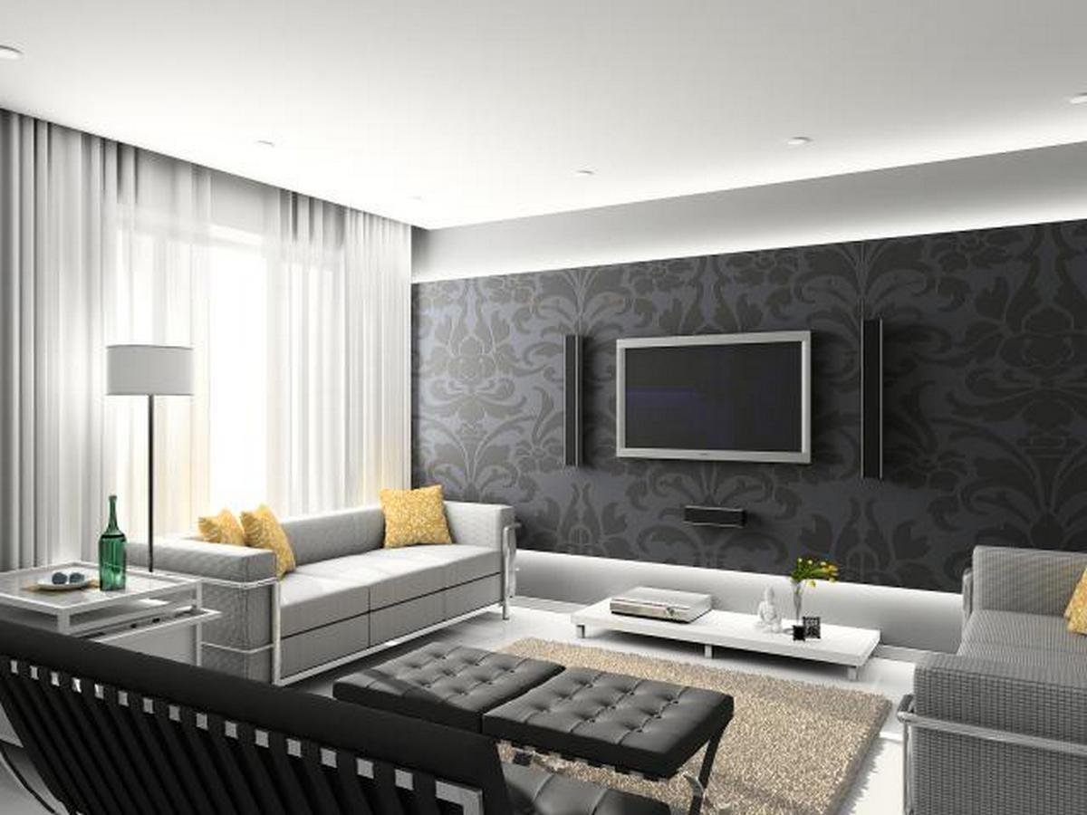 дизайн стены с телевизором в гостиной фото