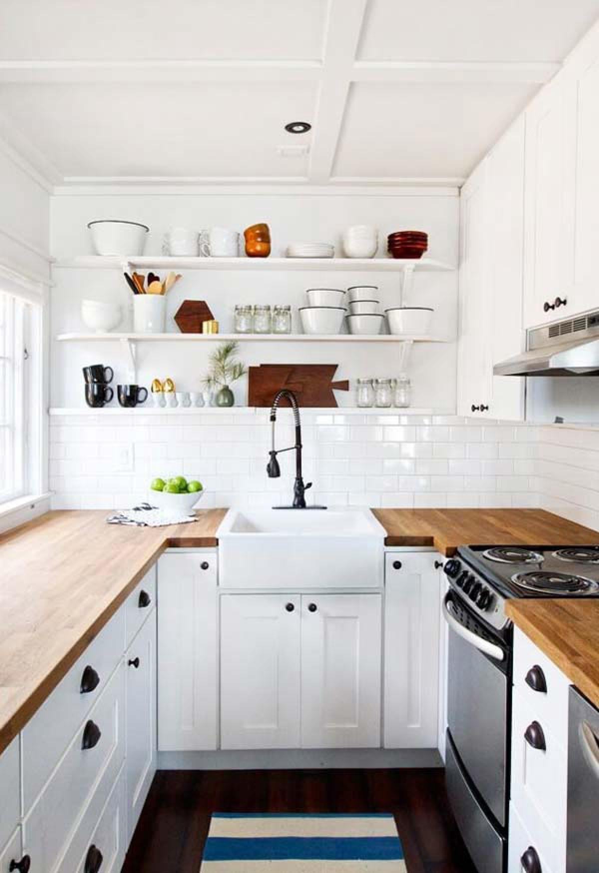 дизайн узкой кухни П-образный гарнитур