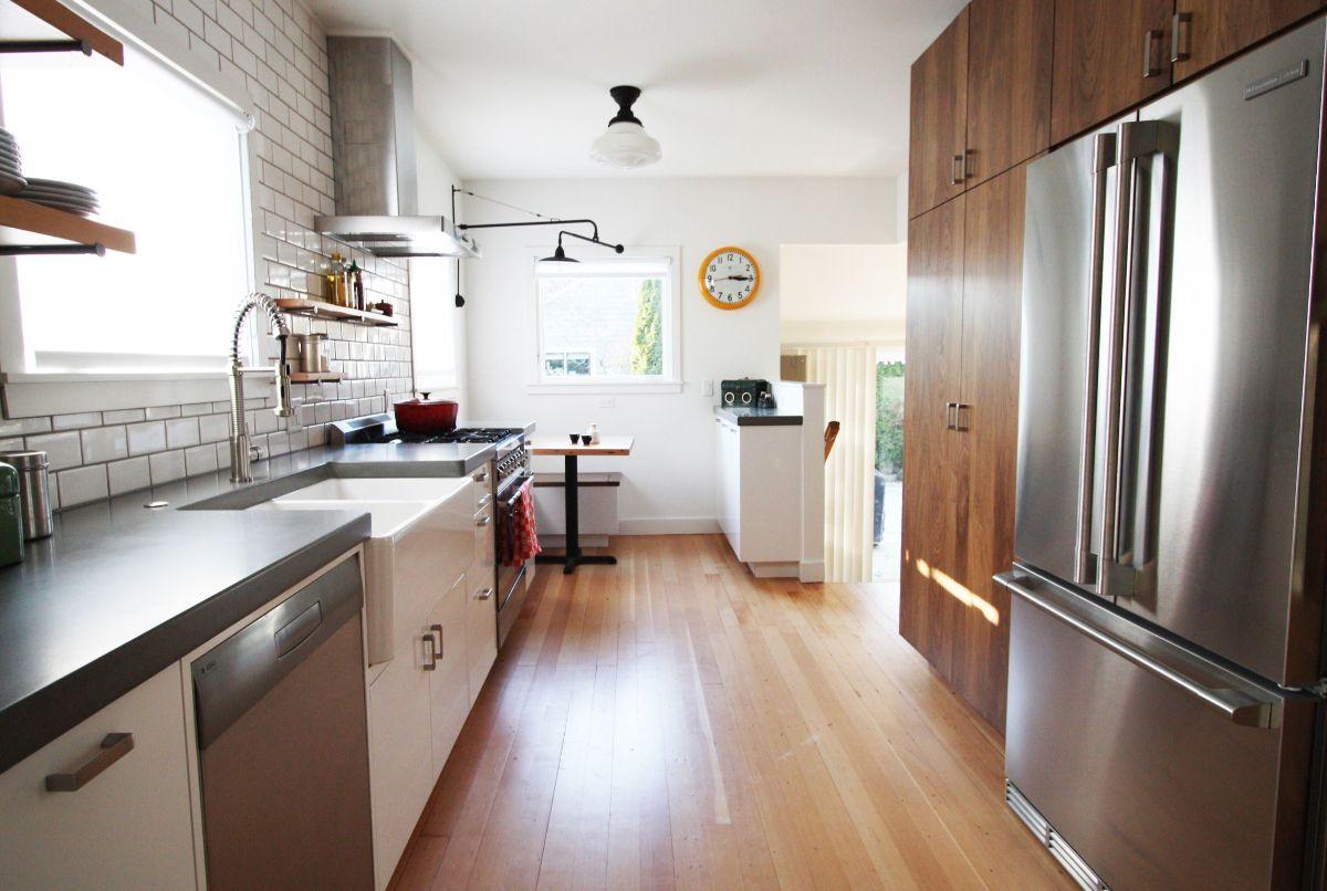 дизайн узкой кухни плитка кабанчик