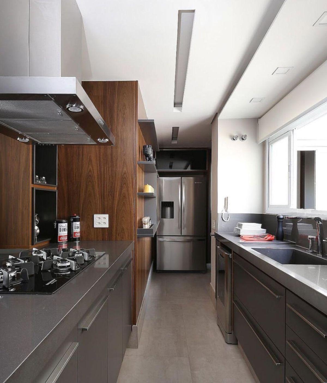 дизайн узкой кухни цвет мокрый асфальт