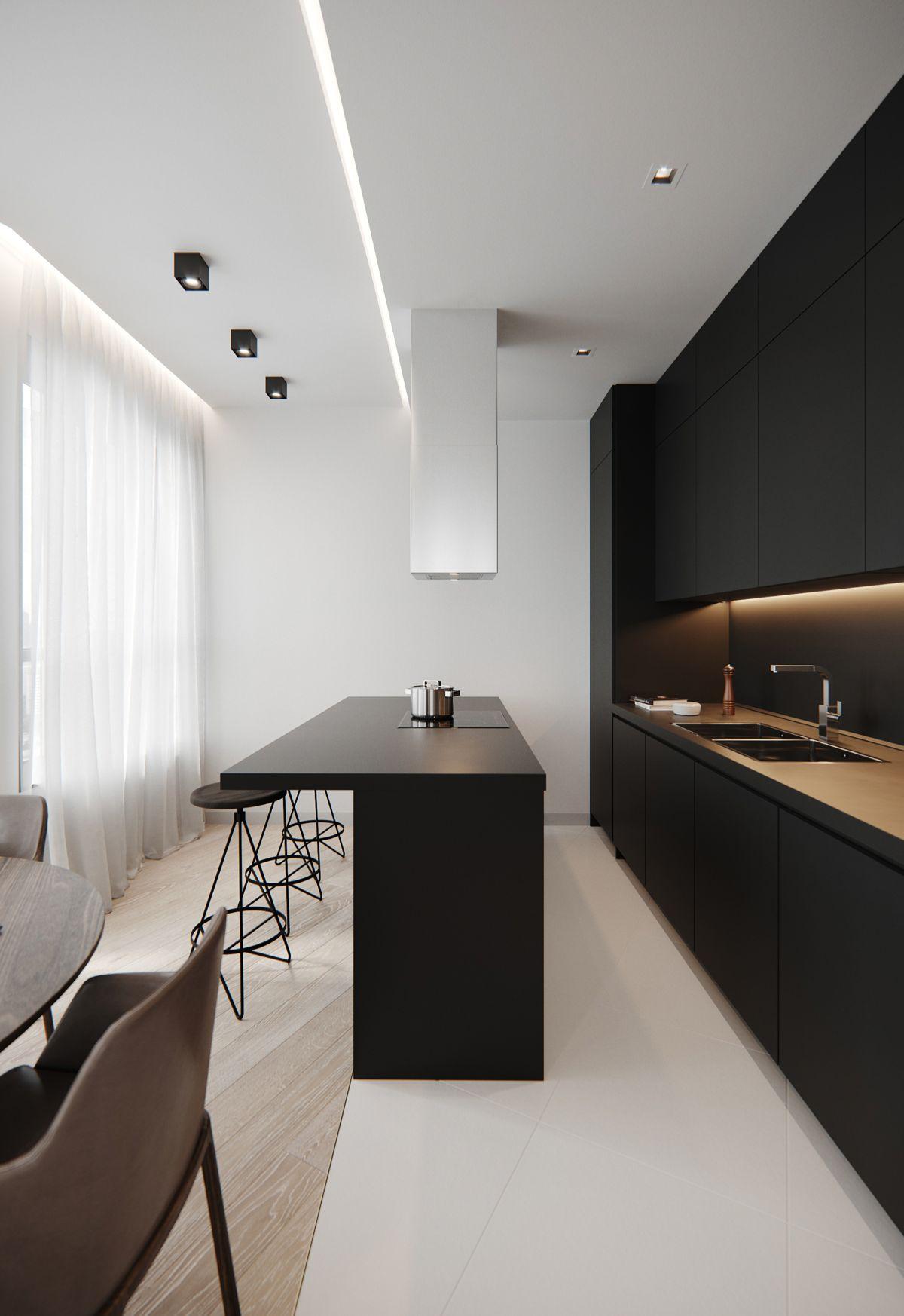 дизайн узкой кухни в чёрном цвете