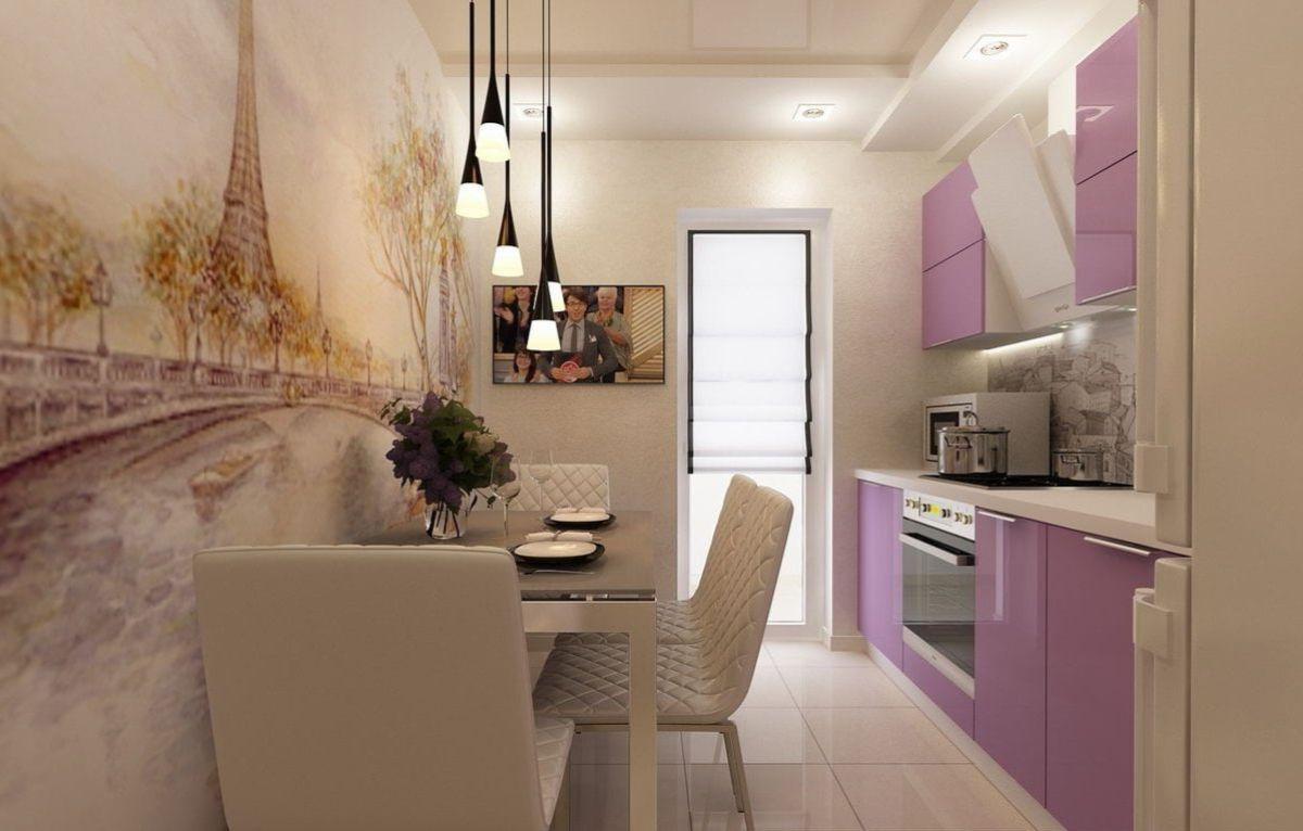дизайн узкой кухни в квартире оттенки лилового