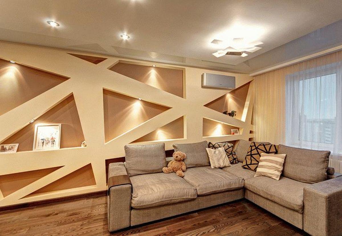 идеи дизайна стен в гостиной нестандартные решения