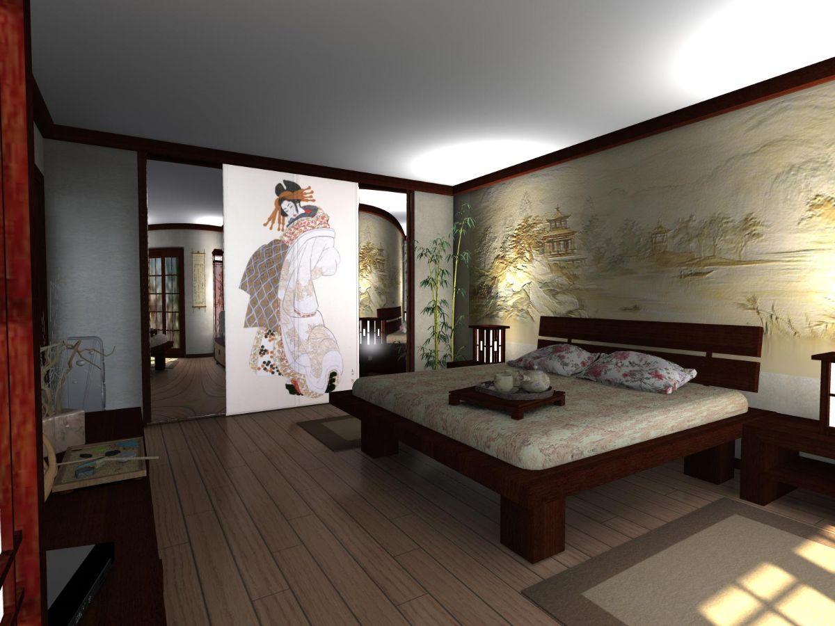 интересный интерьер спальни в японском стиле