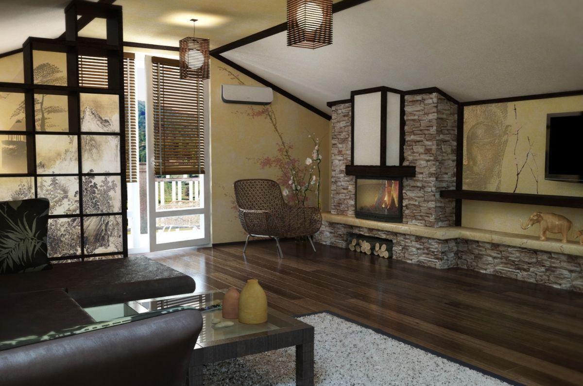 интерьер гостиной в японском стиле в мансарде