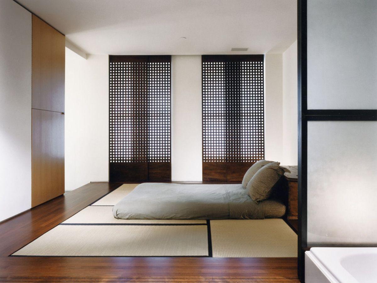 интерьер спальни в японском стиле пример дизайна