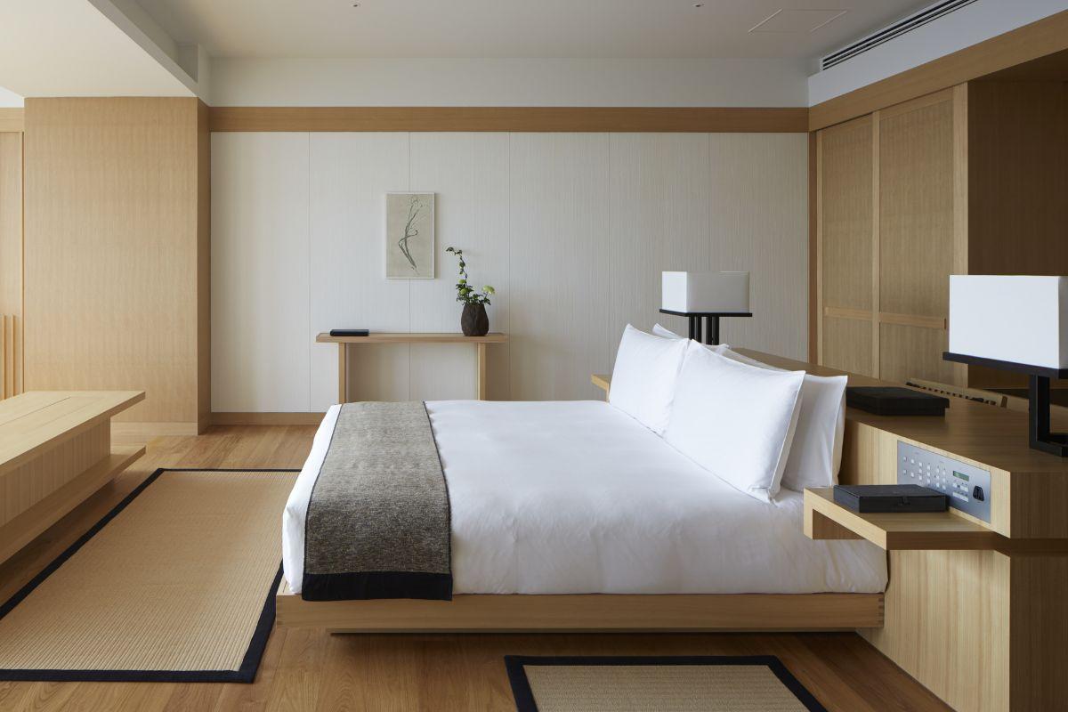 интерьер спальни в японском стиле цвет светлого дерева