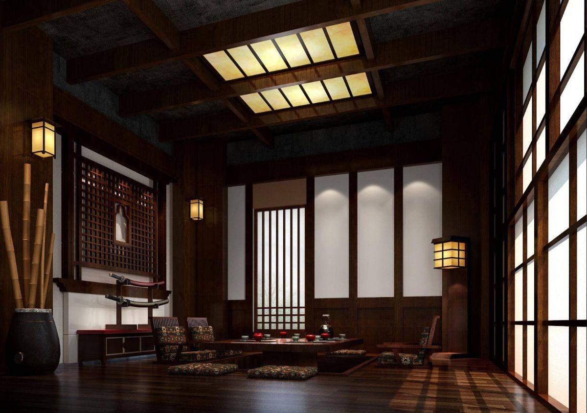 интерьер в японском стиле в тёмно-коричневой палитре