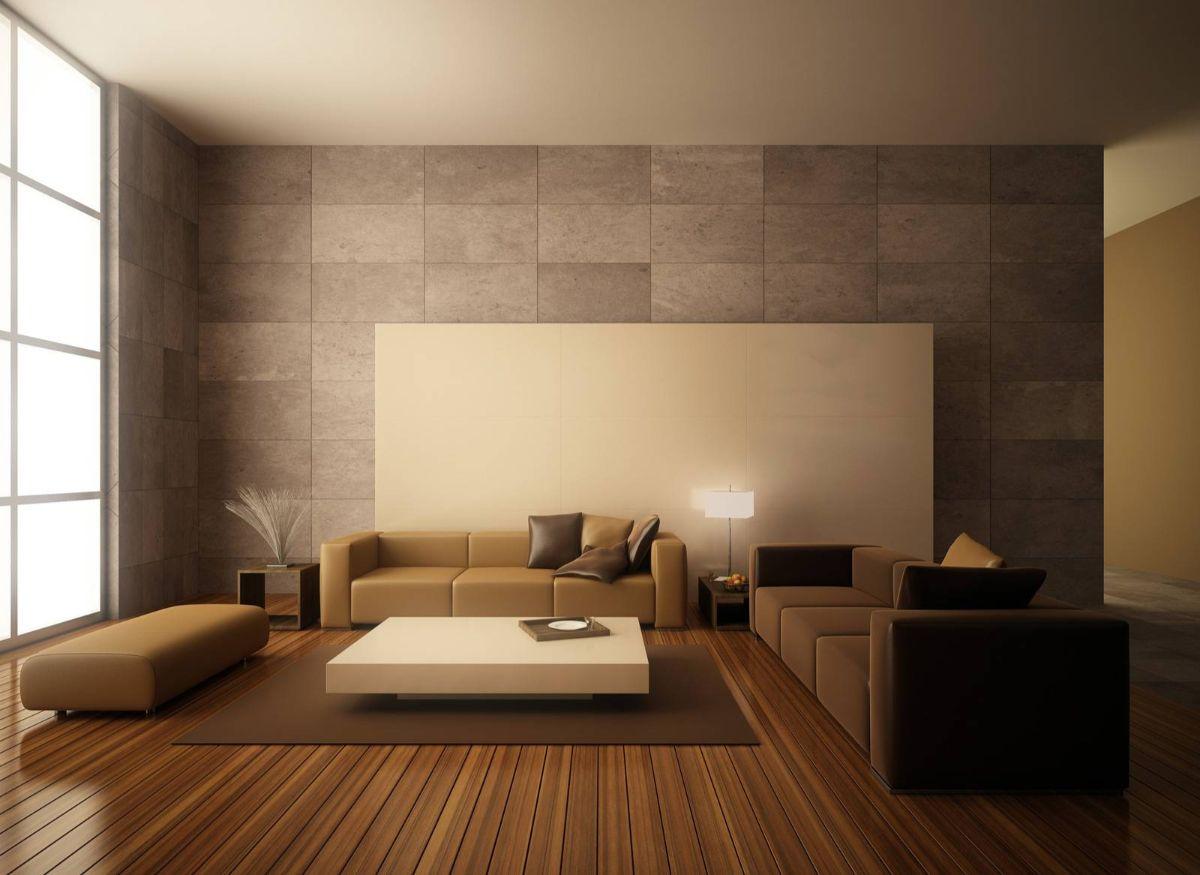 карамельный интерьер гостиной в японском стиле