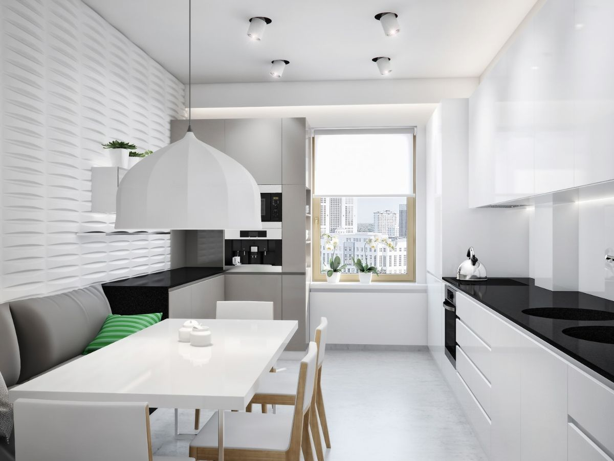 красивый чёрно-белый дизайн узкой кухни