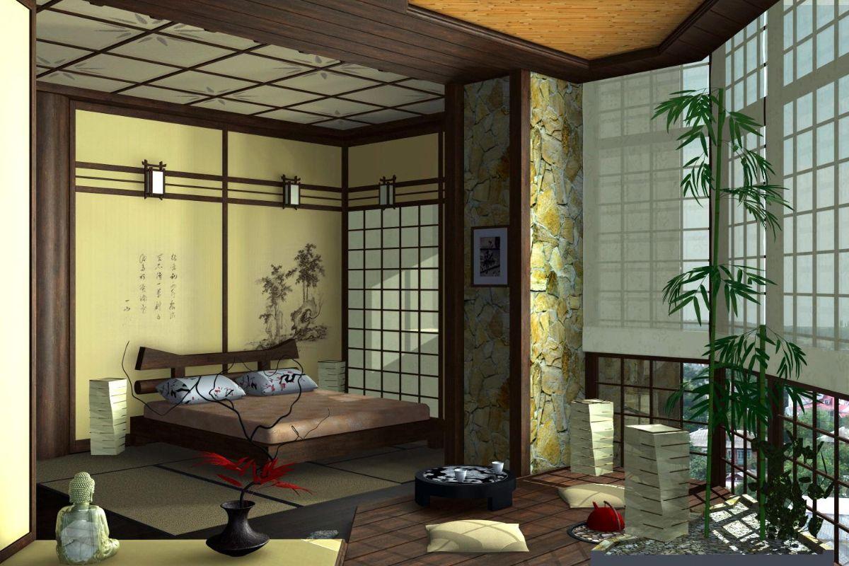 красивый интерьер в японском стиле