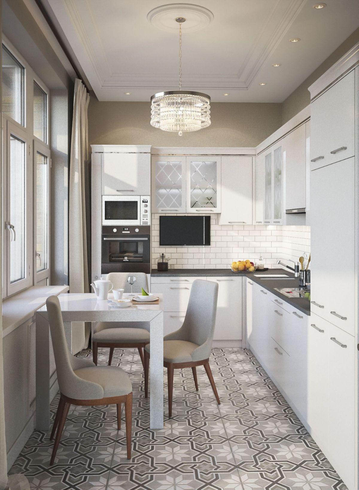 креативный дизайн узкой кухни в светлом цвете