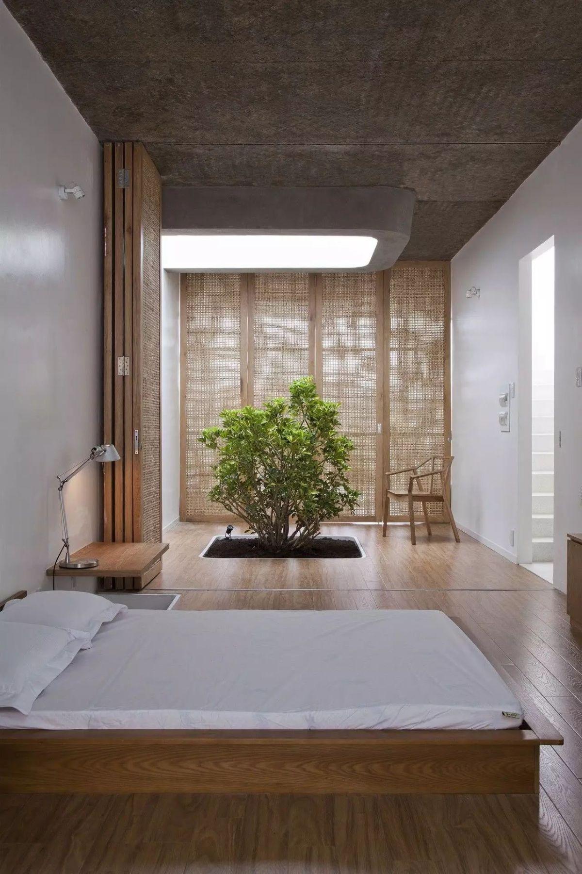нестандартный подход к обустройству спальни в японском стиле
