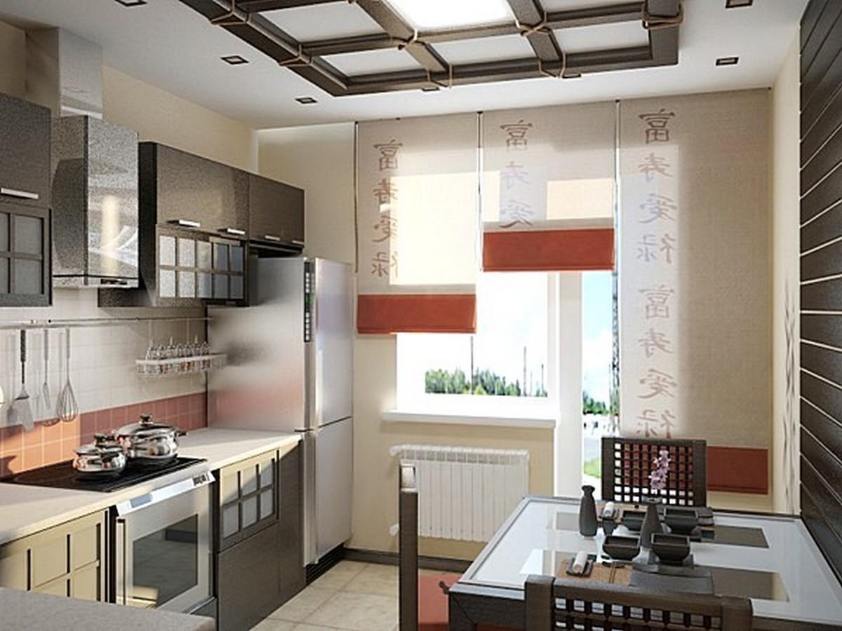 оформление кухни в японском стиле шторы