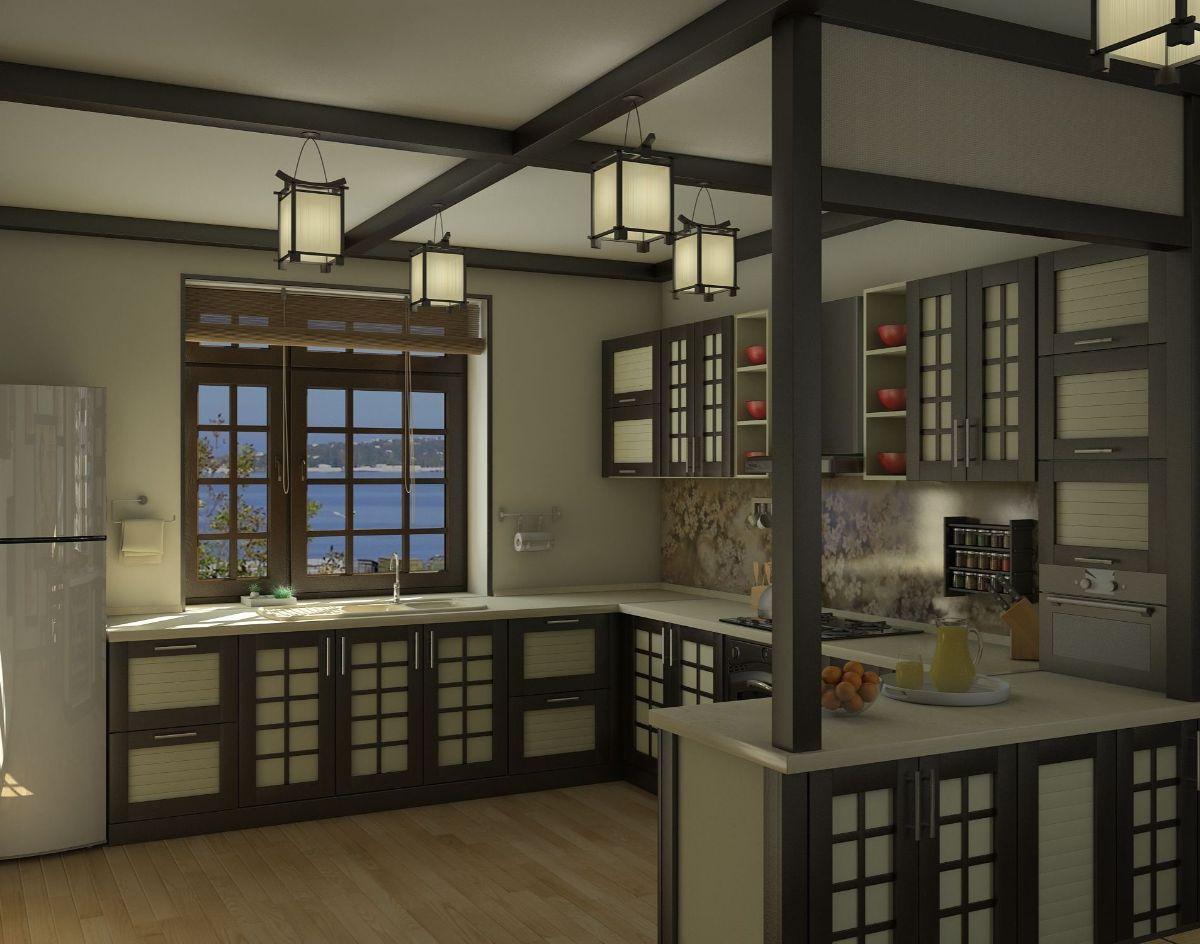 оливковый интерьер кухни в японском стиле