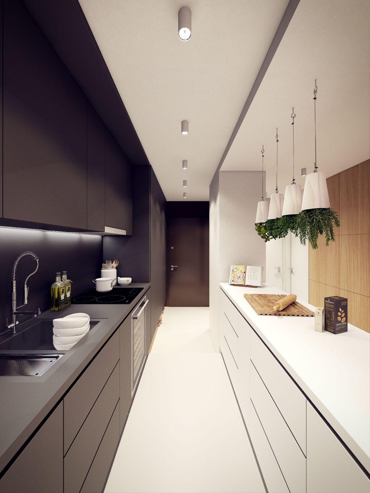 оригинальный чёрно-белый дизайн узкой кухни