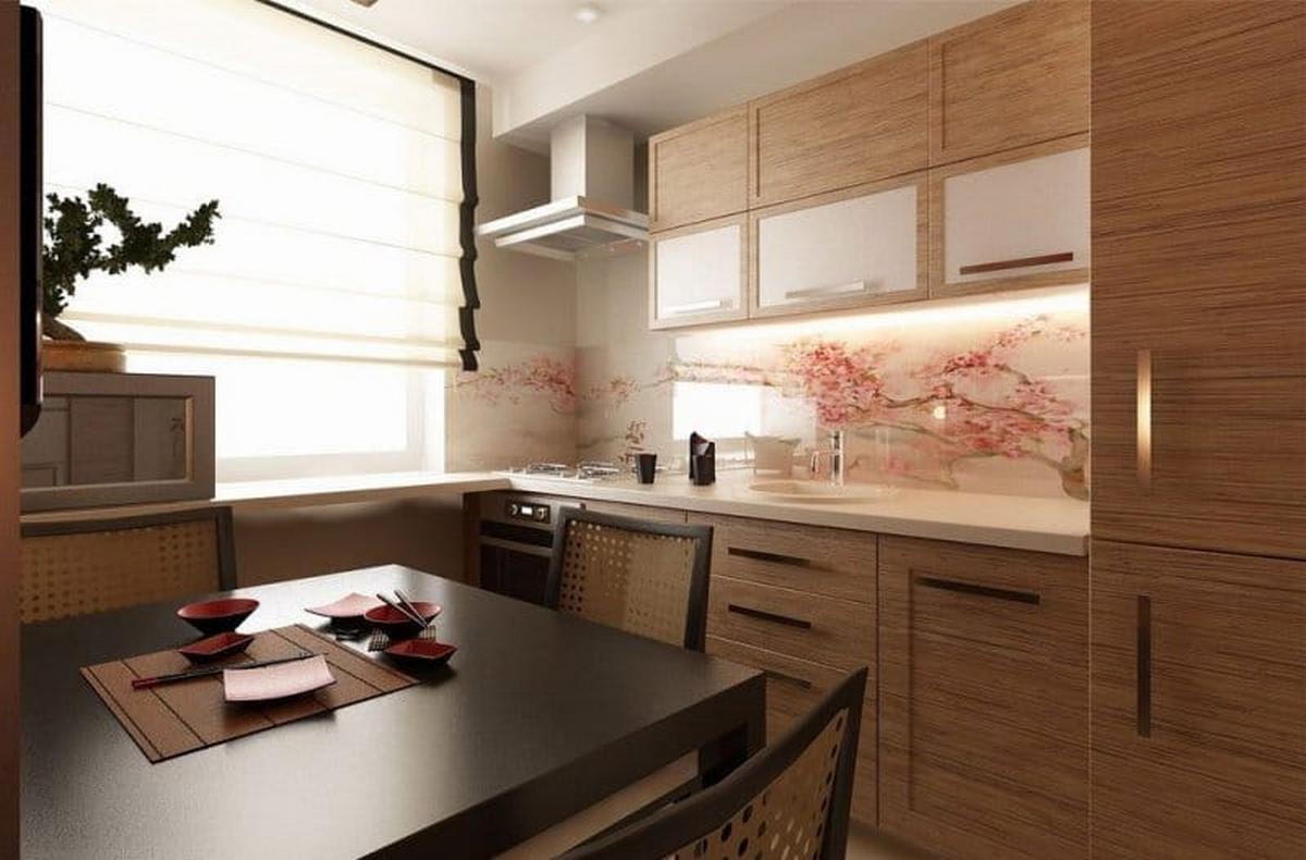римские шторы в интерьере кухни в японском стиле