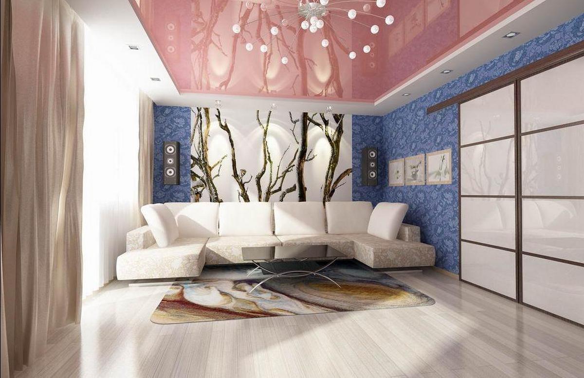 современный дизайн стен в гостиной фото