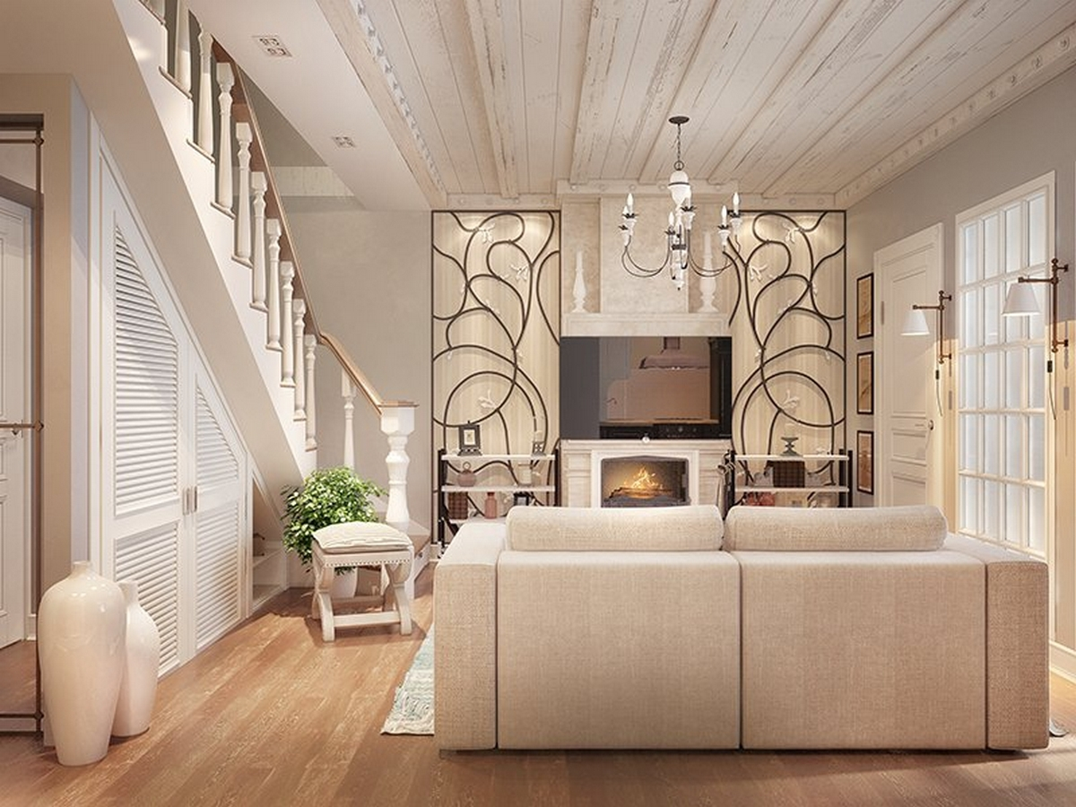 современный дизайн стен в гостиной пример
