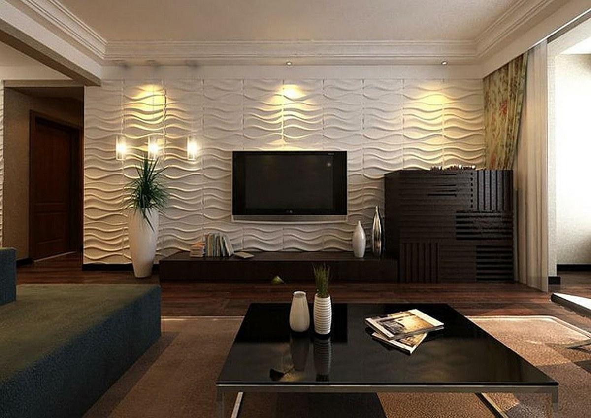 современный дизайн стен в гостиной удачное решение