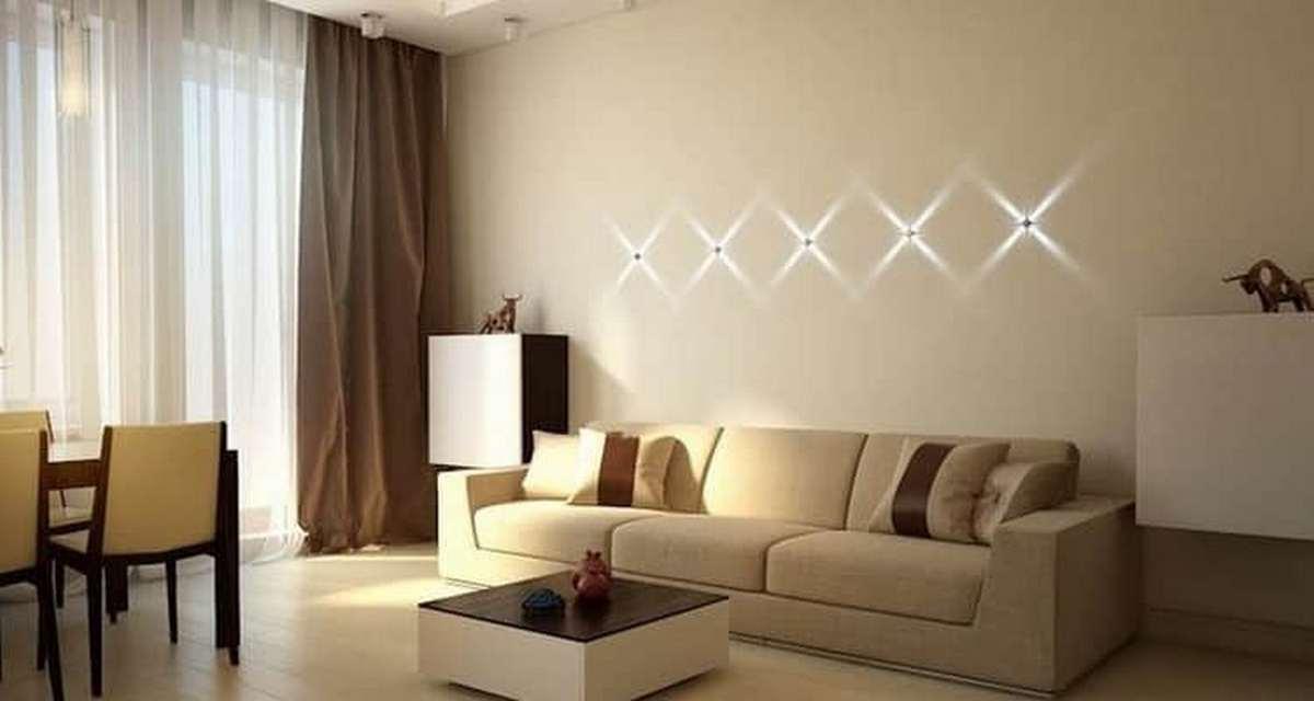 современный дизайн стен в гостиной