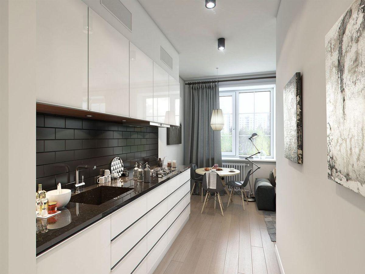 современный дизайн узкой светлой кухни