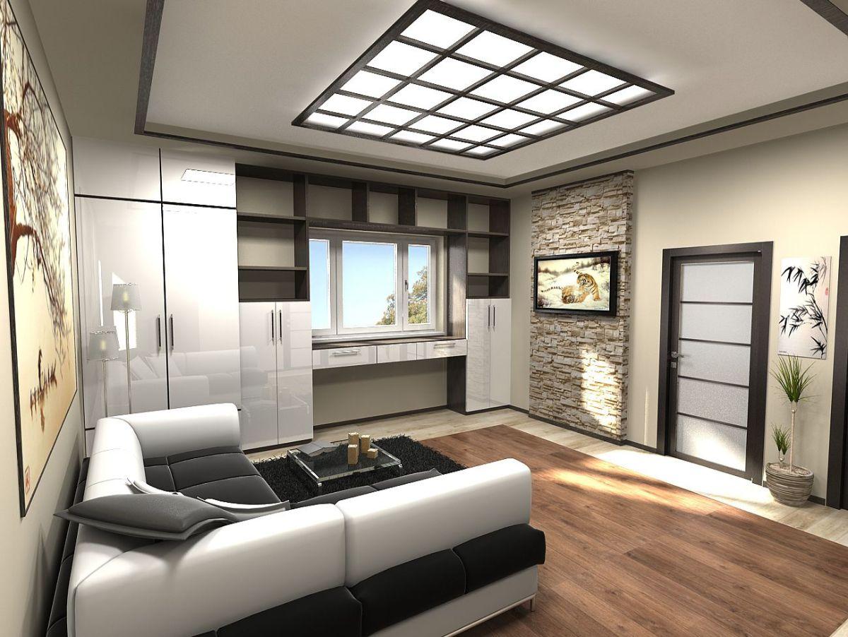 современный интерьер гостиной в японском стиле