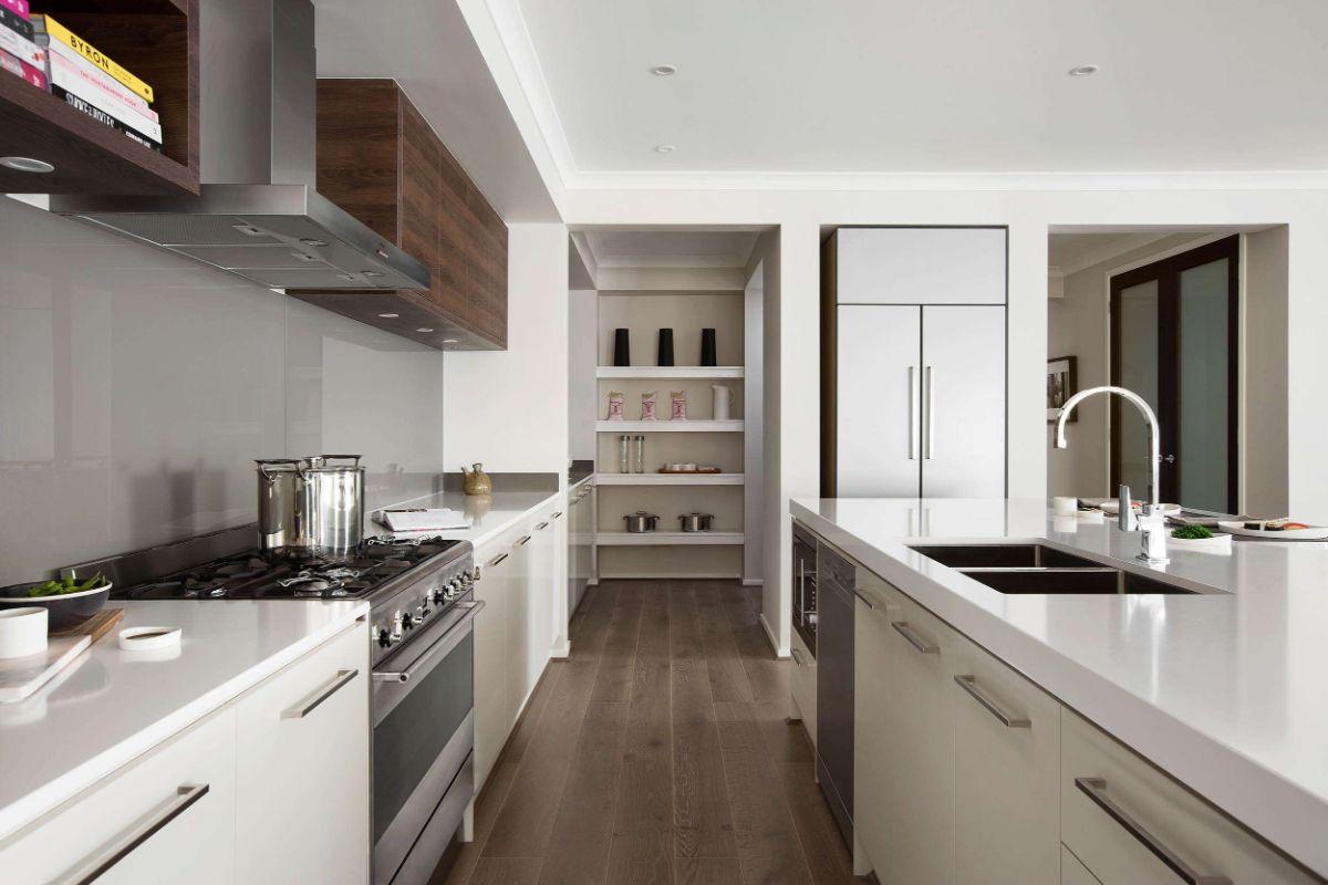 стильный дизайн узкой кухни