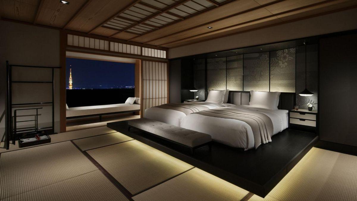 тёмно-коричневый интерьер в японском стиле