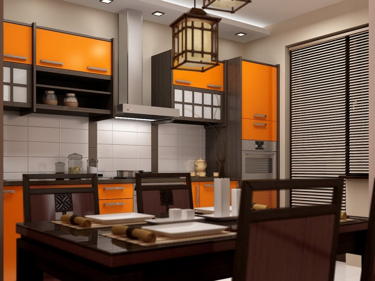 традиционное оформление интерьера для кухни в японском стиле