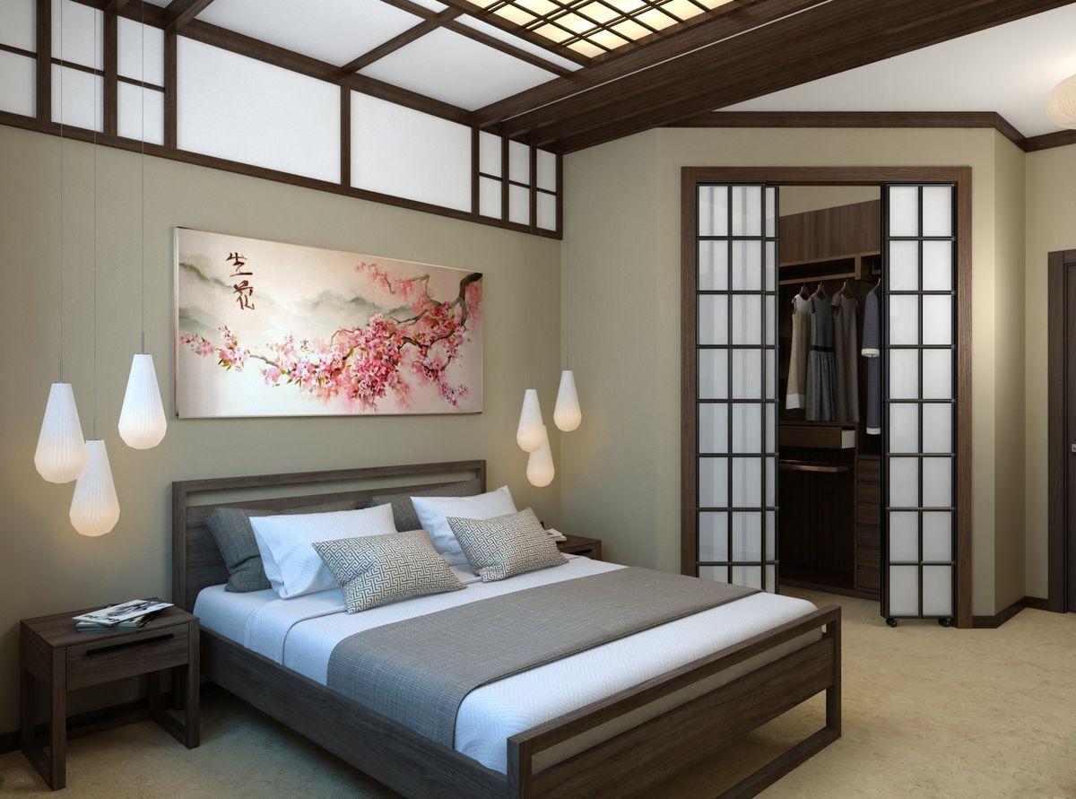 японский стиль для небольшой спальни