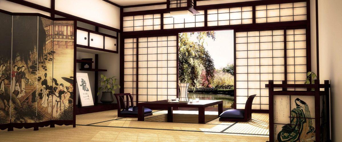 японский стиль в интерьере бежево-коричневые тона