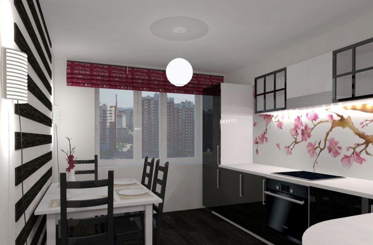 японский стиль в интерьере чёрно-белой кухни