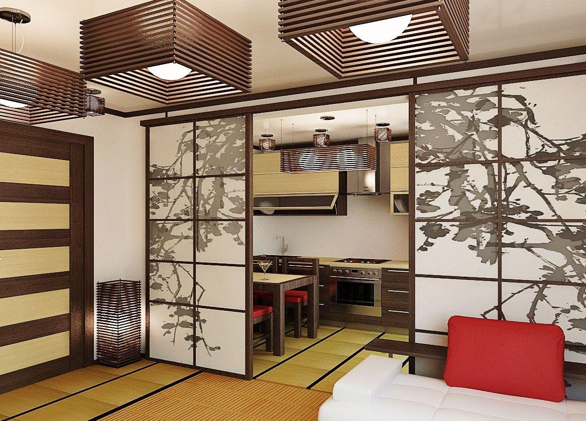 японский стиль в интерьере кухни гостиной