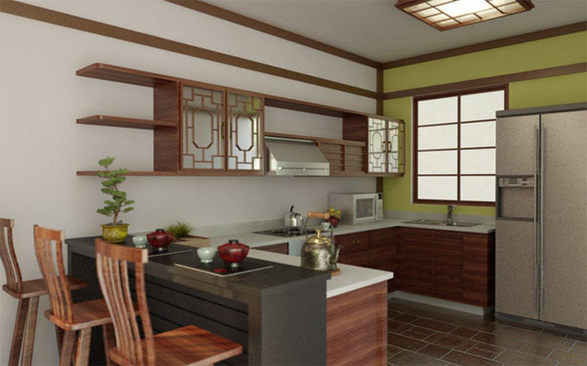 японский стиль в интерьере кухни красивый дизайн