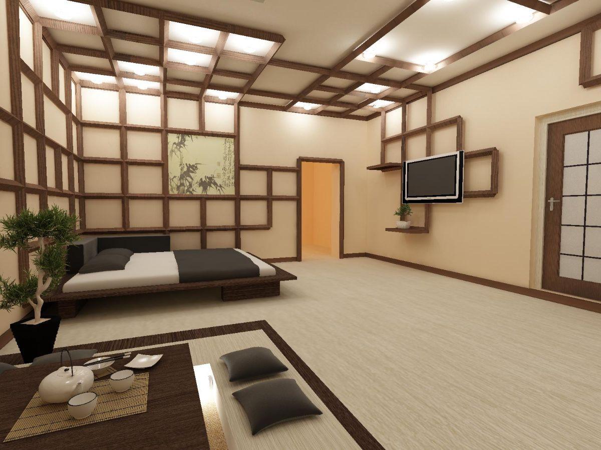 японский стиль в интерьере просторной спальни