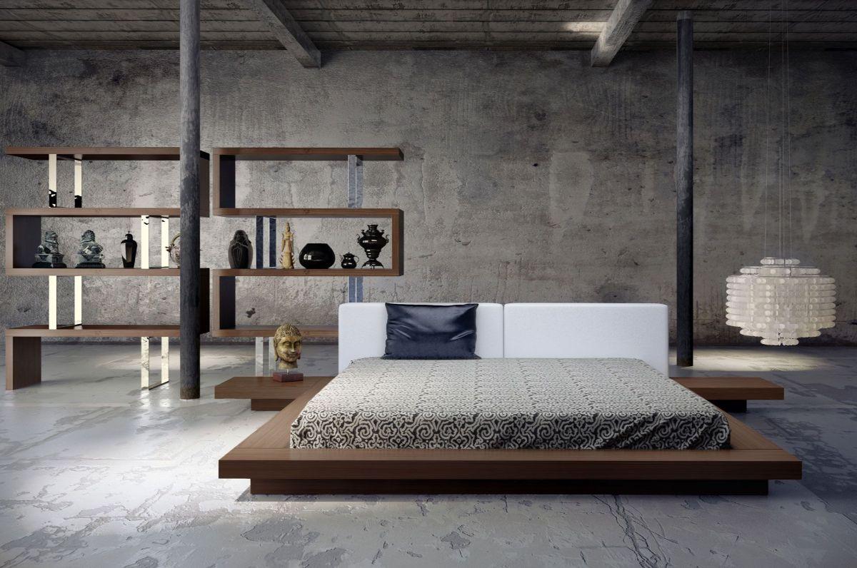 японский стиль в интерьере спальни элементы лофта