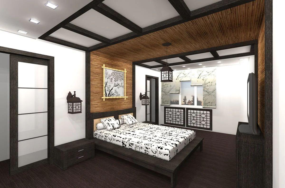 японский стиль в интерьере спальни оригинальный дизайн
