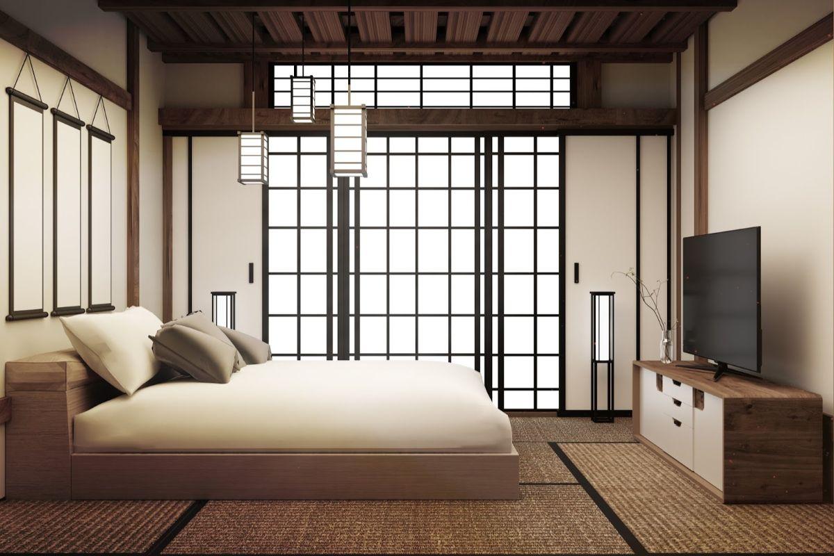 японский стиль в интерьере в бежевых тонах