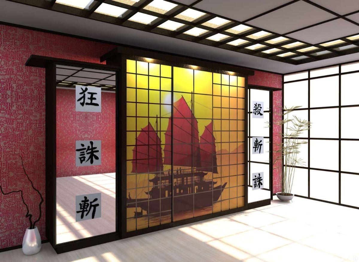 японский стиль в интерьере витражные двери шкафа