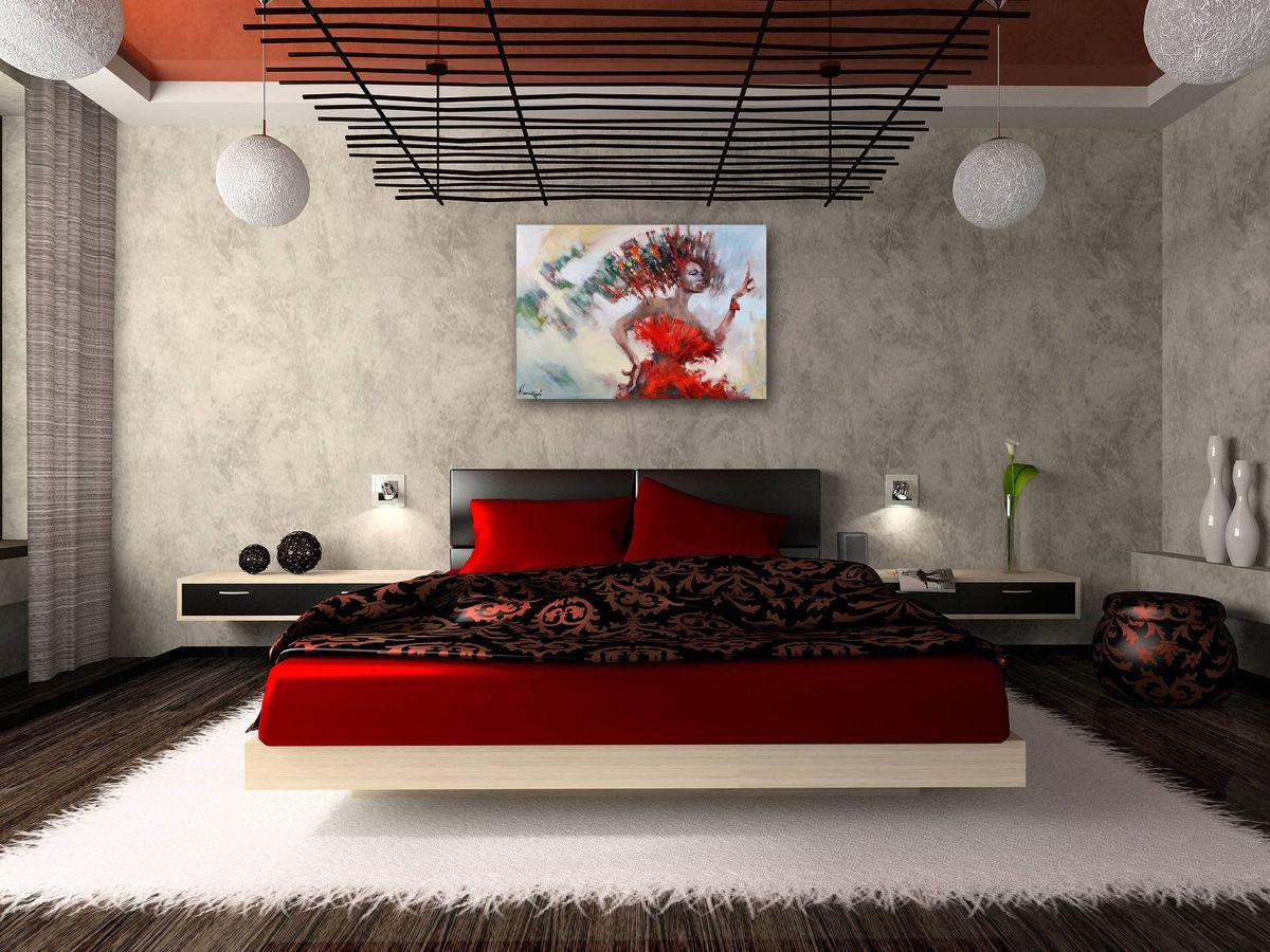 яркий интерьер спальни в японском стиле