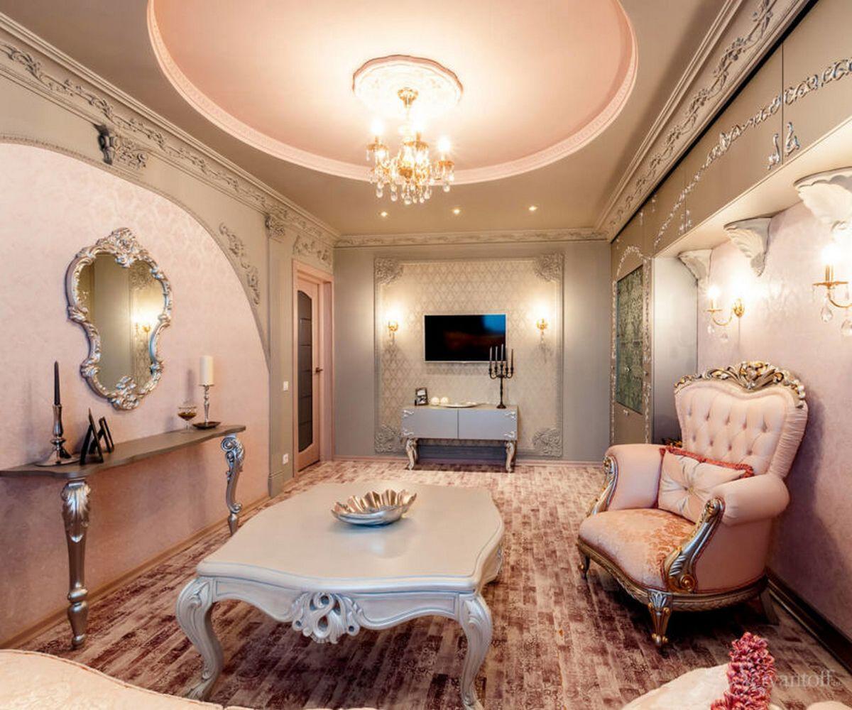 гостиная в стиле барокко светлые тона фото