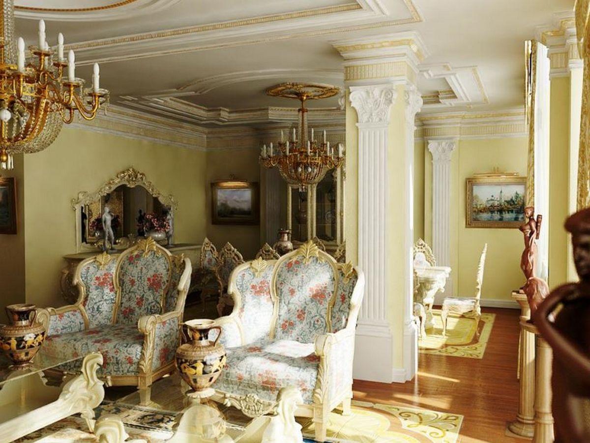 гостиная в стиле барокко светлые тона