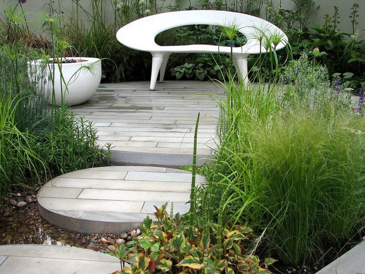 ландшафтный дизайн садового участка лавка