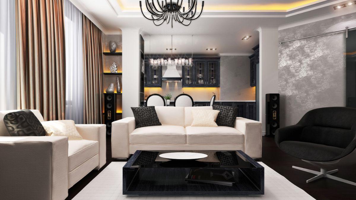 чёрно-белый интерьер в стиле модерн с жёлтыми акцентами