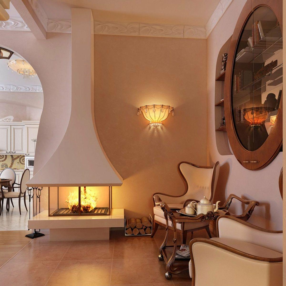 дизайн интерьера абрикосовой гостиной стиль модерн