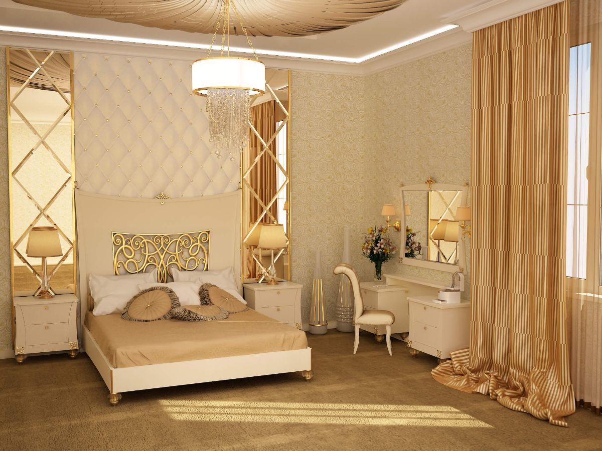 дизайн интерьера спальни стиль модерн в золотых тонах