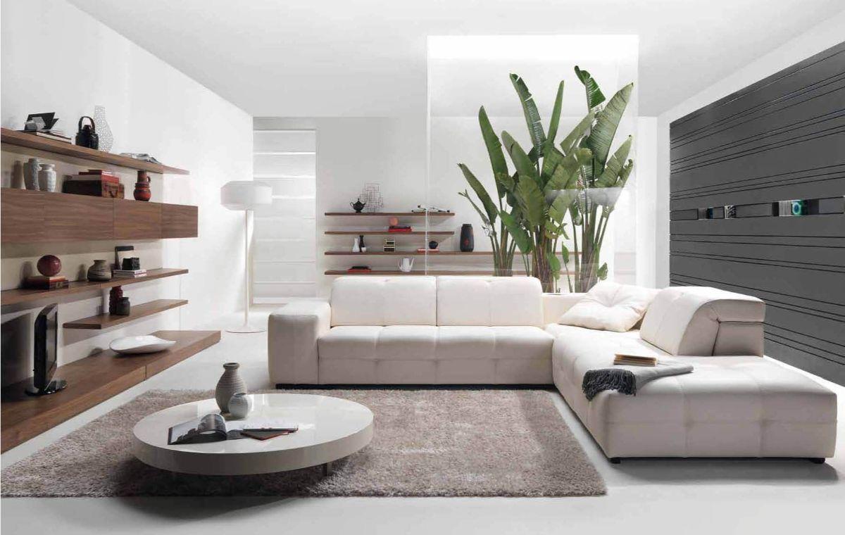 дизайн интерьера светлой гостиной с акцентной стеной асфальтного цвета стиль модерн