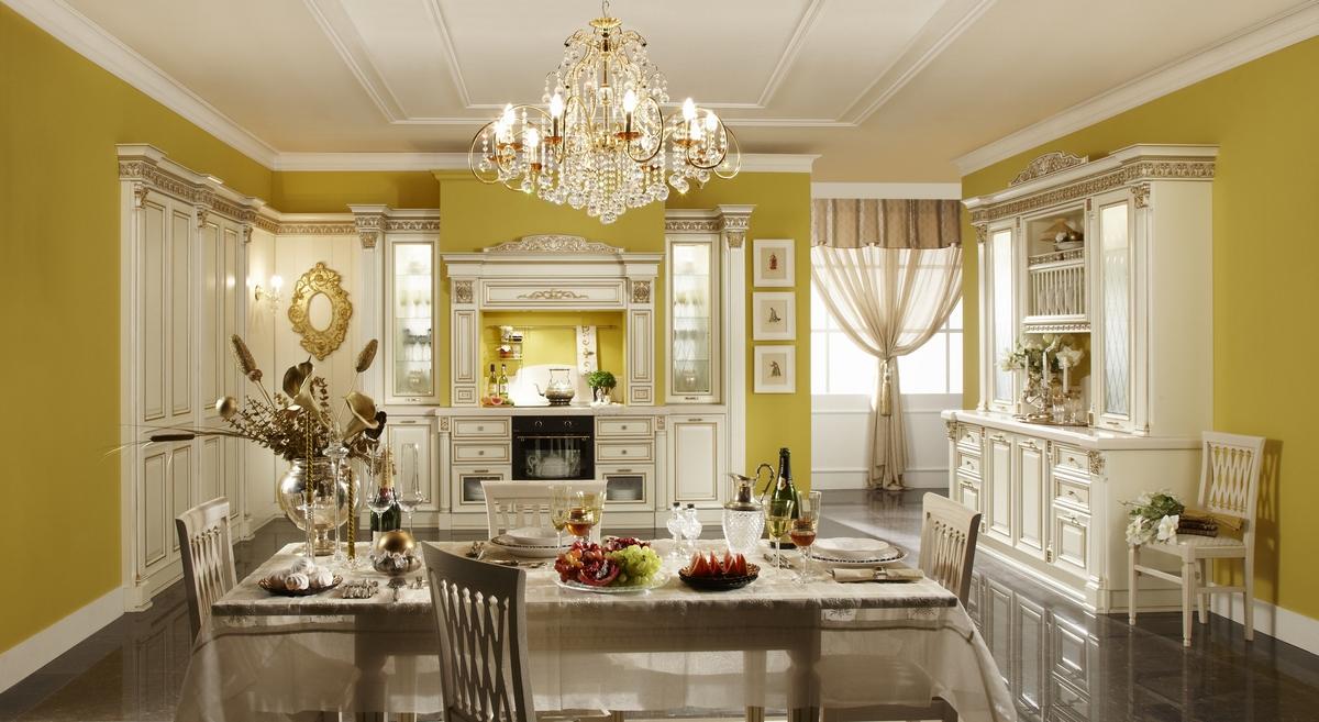 дизайн интерьера в стиле барокко кухня столовая